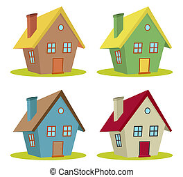 four houses - set of four houses with color changes
