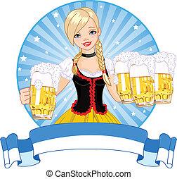 Oktoberfest girl label - Label with funny German girl...