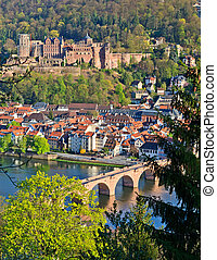 Heidelberg at spring - View on Heidelberg at spring, Germany