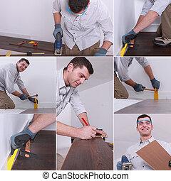Mosaic of man laying laminate flooring