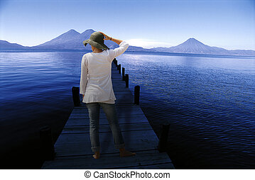 Woman stood on jetty