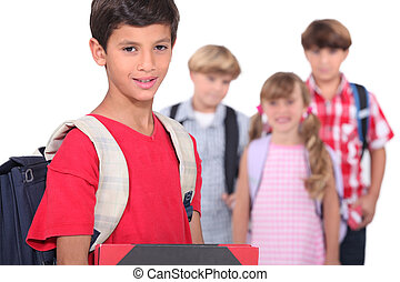 Children on the first day of school