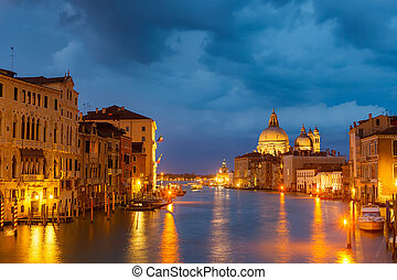Grang canal at night, Venice - Grang canal in Venice at...