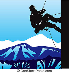 Mountaineering - Climber in the mountains rising on the...