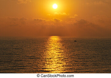 Mediterranean Sea sunset - Golden sunset over Mediterranean...