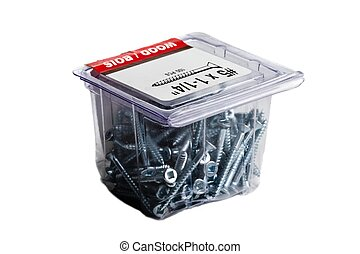 Container of screws on a white background