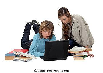 criança, seu, dever casa