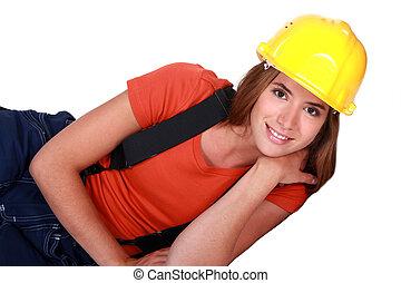 Cute female laborer