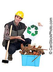 retrato, carpintero, actuación, reciclaje, logotipo