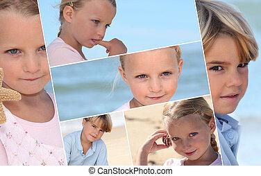 Montage of children on a beach