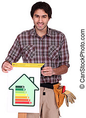 A male carpenter promoting energy savings.
