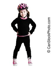 Young girl wearing a bicycle helmet on a white background