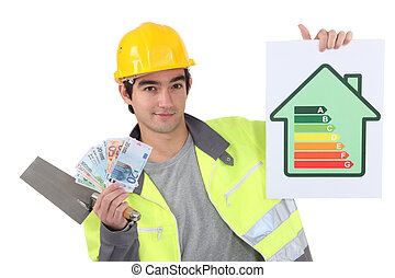 Tradesman holding up money, a trowel and an energy...