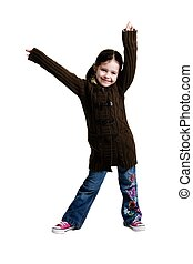 Young girl posing with arms in the air on a white background