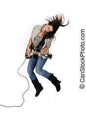 niña, mecedor, guitarra