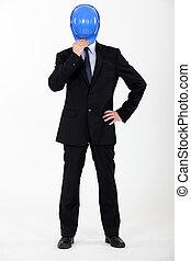 hombre de negocios, paliza, el suyo, cara, casco