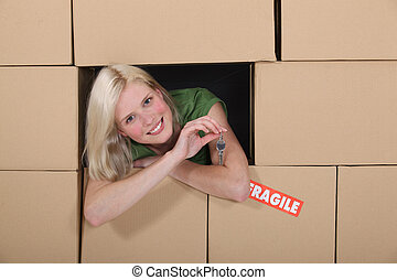 Girl in the middle of moving