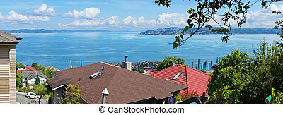 Tacoma Neighborhood with roofs and Puget Sound - Tacoma...