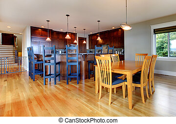 Luxury home kitchen and dining room with open floor plan -...