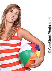 Teen with beach ball