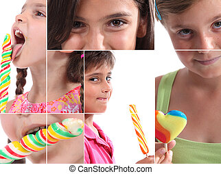 Montage of children with lollipops