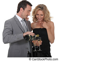 Couple with champagne glasses
