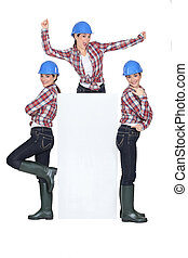 Photomontage of playful girl with hardhat and white sign