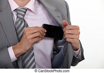 el suyo, móvil, bolsillo, teléfono, poniendo, hombre de...