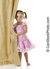 Peek-a-Boo Princess - An adorable preschooler peeking from...