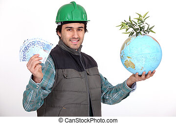 Tradesman holding a globe and a wad of money