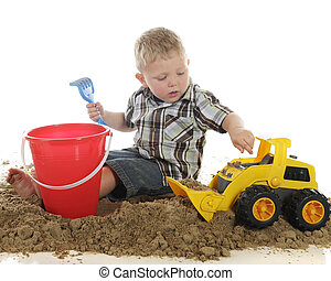Helping the Bulldozer - Playing with toys in wet sand, a...