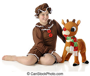 Gingerbread Girl with Pet - An elementary gingerbread girl...
