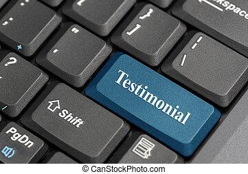 Testimonial on keyboard