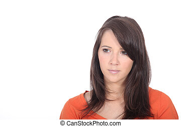 Portrait of brunette woman looking concerned