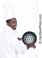 cacerola, cocinero, señal