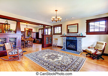 Beautiful old craftsman style home living room interior -...