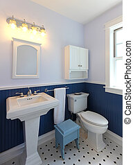 Bathroom with sink and toilet with blue walls. - Bathroom...