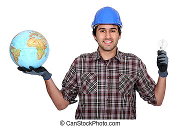 Worker with bulb and globe