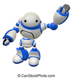 Software Security Concept Robot Waving Left Arm