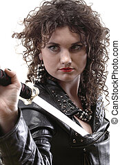 curly woman curly girl and sword - Girl - woman dark curly...