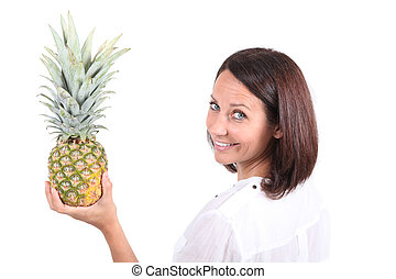 portrait of a woman holding a pineapple