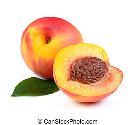 Fresh Peach Fruits with Green Leaf