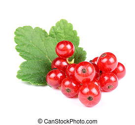 Heap of Fresh Red Currant with Leaf