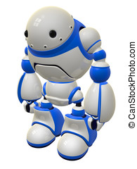 Cute Security Robot Standing Ready - Security robot standing...