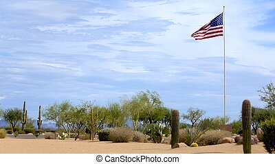 USA Flag Flying High in the Desert - United States flag...