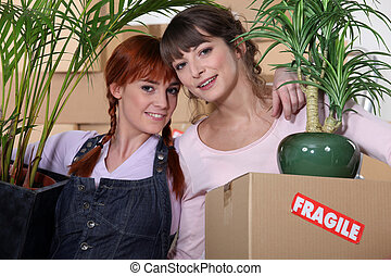 Girls on moving day