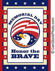 American Eagle Memorial Day Poster Greeting Card - Poster...