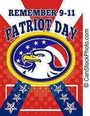 norteamericano, águila, patriota, día, 911,...