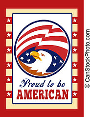 American Proud Eagle Independence Day Poster Greeting Card -...
