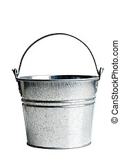 metal bucket with handle on a white background
